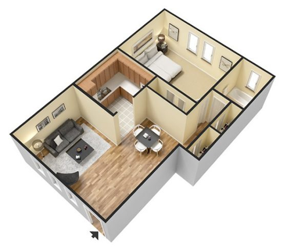 3D 1 Bedroom 1 Bathroom.  850 sq. ft.