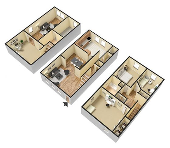 3D 3 Bedroom 1.5 Bathroom.  2500 sq. ft.